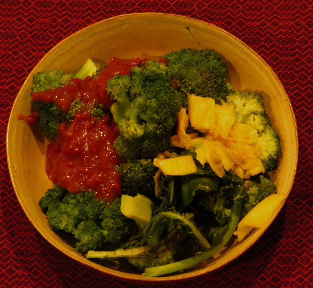 broccoli tree tomato chutney kimchi