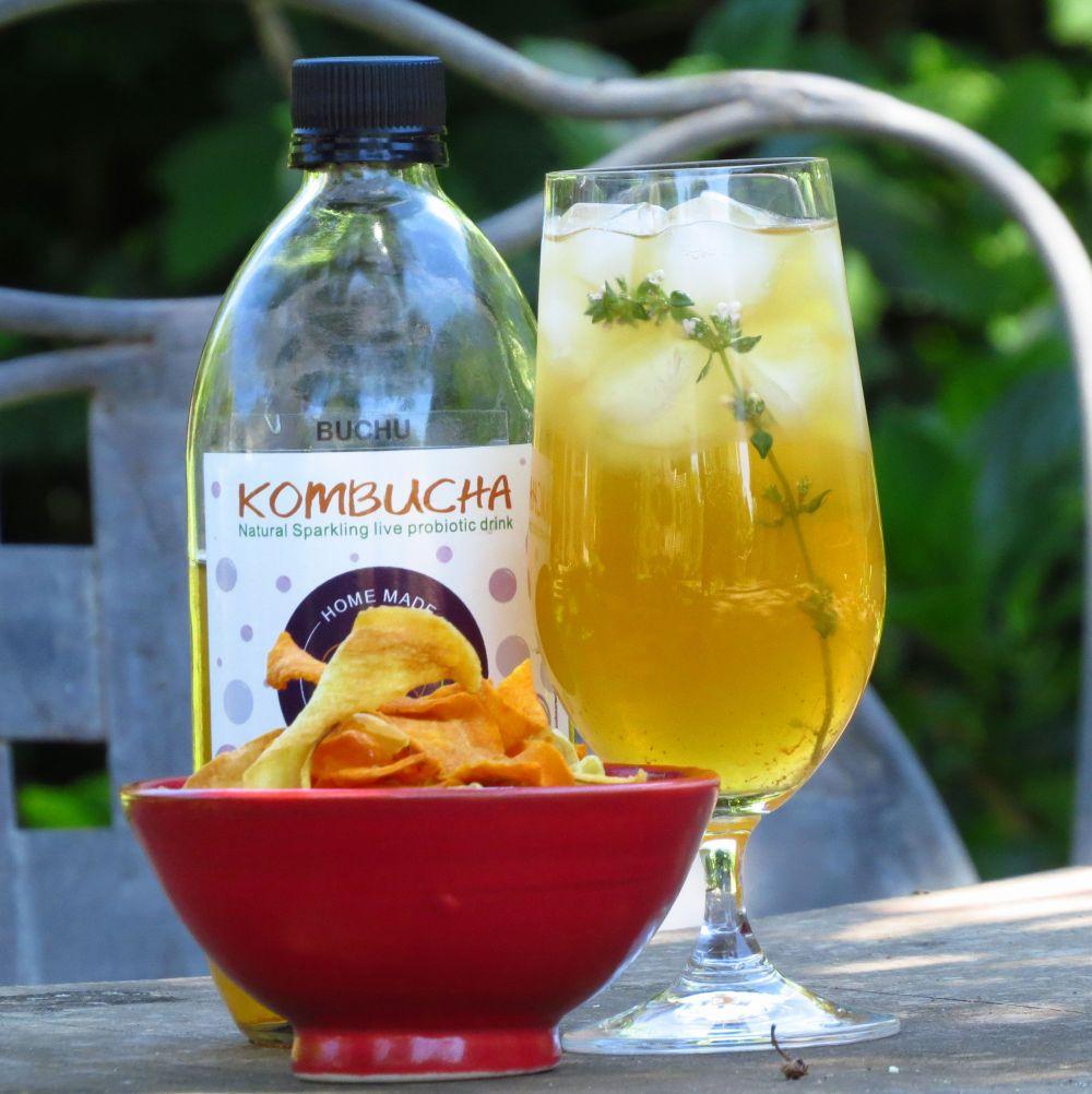 kombucha and vegetable crisps