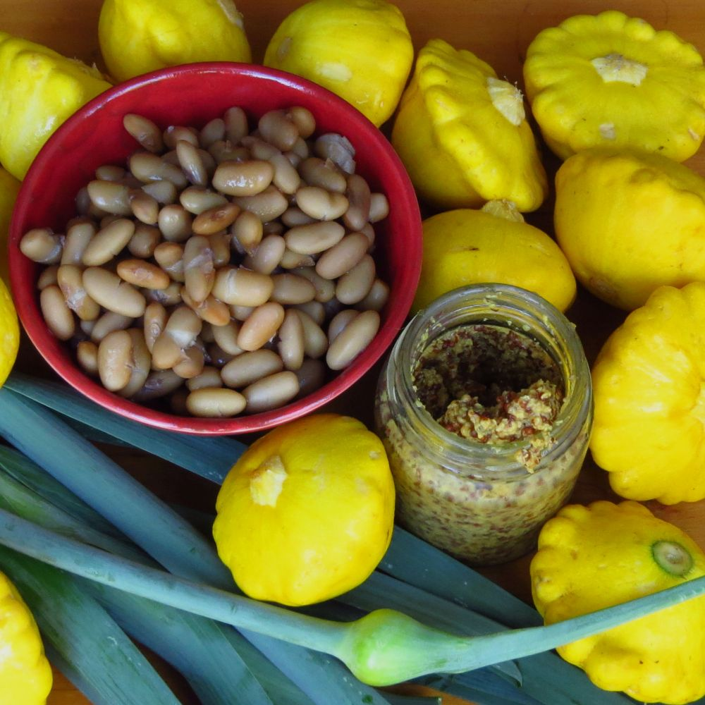 patty pans, beans, leeks, mustard